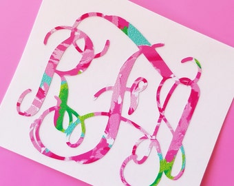 Floral Monogram Decal | Vine Monogram Decal | Pink Monogram Decal | Car Decal | Computer Monogram Decal | Preppy Monogram Decal