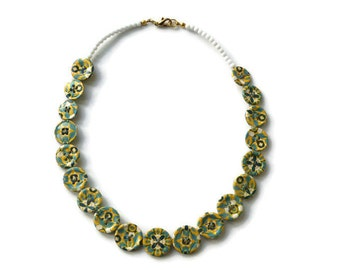 Ras neck yellow and blue necklace - floral - fancy necklace