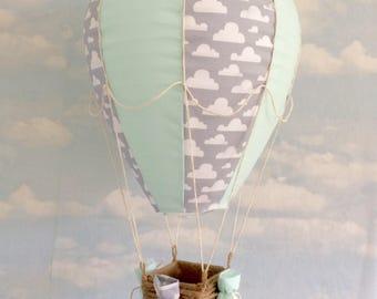 Mint green and grey cloud hot air balloon lightshade