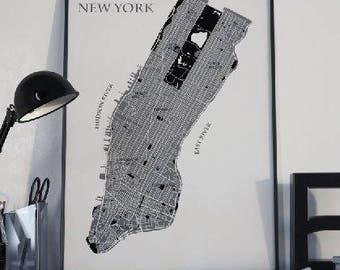 New York Map Print, Manhattan NYC Map art print, Map poster, Color New York Map, City map prints, instant download