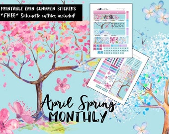 EC April - Spring Monthly View Planner Stickers / Erin Condren / Printable Planner Stickers / Cut Files / No fashion girl