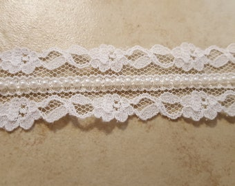 White Lace and Pearl Trim