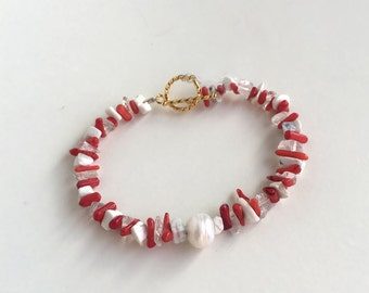 Valentines Day Unique Gifts, Jewelry Bracelets, Red and White Bracelet with Natural Quartz Crystal, Howlite stone and Red Coral, Natural Pea