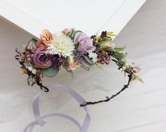 Peach lilac white flower crown Floral crown Spring wedding Flower hair wreath Bridal halo Bridesmaid crown Flower girl headpiece Headband