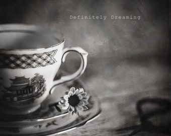 Black & White Fine Art Photograph, Square Photo of Vintage Tea Cup and Small Flower