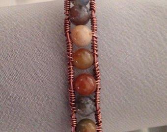 Jasper and Copper Bracelet, Jasper and Copper Wire Wrapped Cuff Bracelet