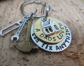 Fathers Day gift, Tool key chain, Gift for Dad, A fathers love, Hand stamped key chain, key chain for Dad, Gift for Father, Gift for him