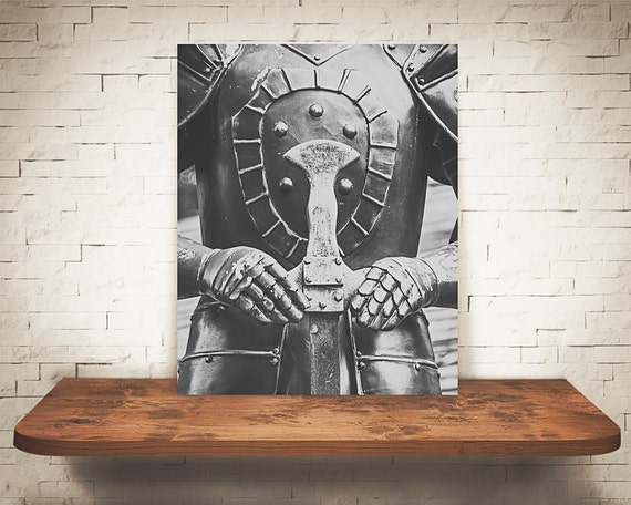 Knight Photograph - Black White Photography - Fine Art Print - Home Wall Decor - Medieval Times - Man Cave Pictures - Knights Armor - Gifts
