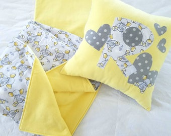 Baby Elephant and Hearts Gray and Yellow Flannel Quillow Blanket - Birthday, Baby Shower, Special Occasion