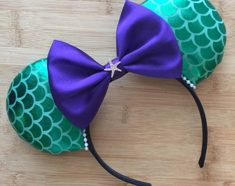 Ariel Ears, Mermaid Mouse Ears, Ariel Mouse Ears, Mermaid Inspired Mouse Ears