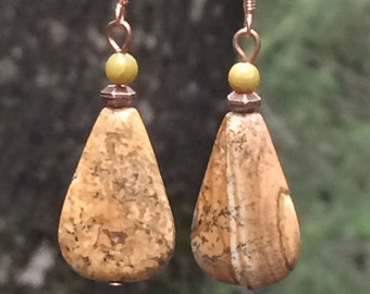 Gemstone earrings, picture jasper, jade, gemstone, earthtone, dangle earrings