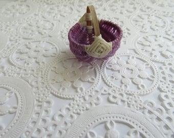 Miniature Wicker Baskets-Wax Wicker woven baskets-Miniature Basket-Wicker Basket-Lavender/ Off White