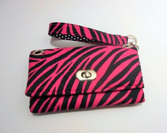 Pink Zebra Wristlet Wallet, Zebra wallet, Zebra Wristlet, Women's wallet wristlet, Pink Zebra gifts, Zebra gifts, Fuchsia zebra wallet