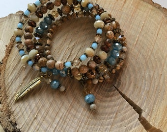 4 wrap beaded memory wire bracelet