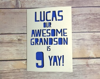 Personalised Grandson Birthday Card, Childrens Birthday Card, Grandson 1st Birthday, Kids Birthday Card, 1st, 2nd, 3rd, 4th, 5th, 6th, 7th