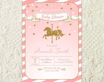 Carousel Baby Shower Invitation, Carnival Baby Shower Invitation, Horse Baby Shower Invitation, Pink And Gold Girl Baby Shower Invitation