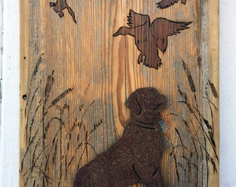Labrador Retriever in Metal with Ducks on Barnboard
