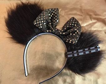 Chewbacca Chewie Wookie Mickey Minnie Mouse Ears Star Wars Shiny Bow Head Band Headband