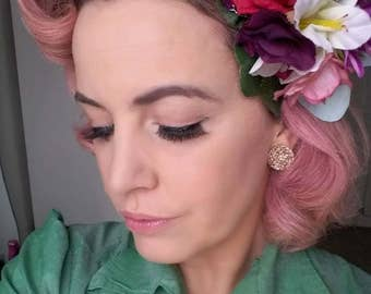 Pin Up Vintage Inspired 40's 50's Summer Pastel Jewelled Hair Flower