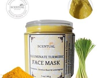 Turmeric illuminating Face Mask, Organic Face Mask, Turmeric Clay mask, Natural Face Mask, Brightening Face Mask, Gift Idea