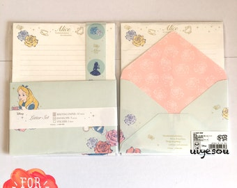 New Alice in wonderland letter set,Disney stationary, letter writing, Japan cute letter set (light green flower)