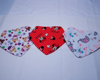 Set of 3 Reversible Baby Girl Drool Bibs - fits 3 to 6 months