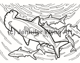 hammerhead shark adult colouring page coloring book printable adult coloring hand drawn