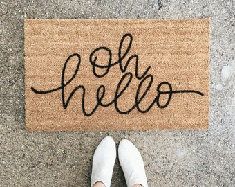 hello welcome mat | hand painted, custom doormat | cute doormat | outdoor doormat | wedding gift | housewarming gift