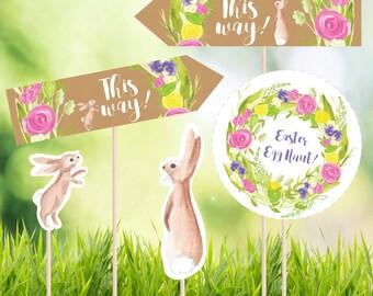 Easter egg hunt printable signs, easter decorations, easter egg hunt printables, DIGITAL DOWNLOAD