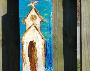 27 - White & Tan Church on Blue