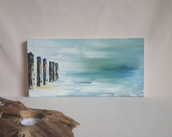Tranquillity II ~ Small Coastal Landscape Oil Painting of Calm Seaside Greens, Blue Skys & Textured Coastal Beach Groyne's.
