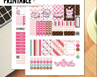 Pink Piggies Printable Weekly Medium Happy Planner Layout Stickers