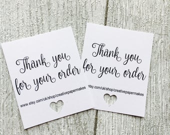 Thank you for your order tags, slips, packaging notes, personalised tags, thank you notes, thank you tags