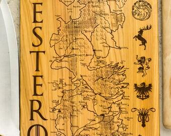 Game of Thrones gift, Westeros map,  Westeros Houses engraved, House sign, Iron Throne, Stark, Baratheon Targaryen, Lannister