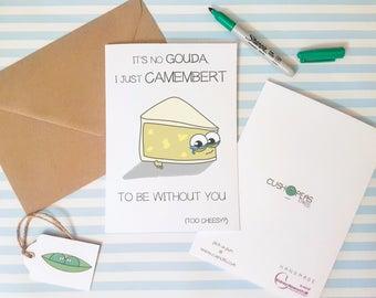Cheesy Boyfriend Birthday Card - Funny Girlfriend Birthday - Cheese Puns - Quirky Anniversary Card - Wife Husband Partner - Charity Card