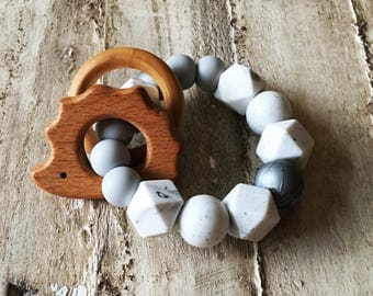 Silver, Marble and Grey Silicone rattle teether with wooden hedgehog and ring
