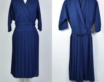 VINTAGE 80s navy double breasted wrap dress with pleat skirt and belt size 16