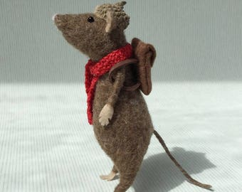 Needle Felted  Brown Mouse Sculpture