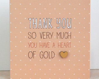 Thank You Card Heart Of Gold