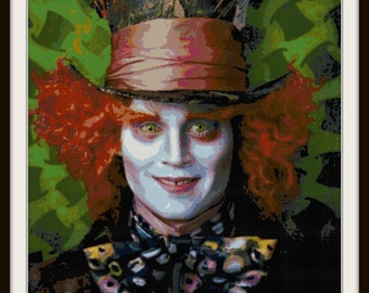 Alice in Wonderland Cross Stitch - Mad Hatter - Johnny Depp - PDF Download