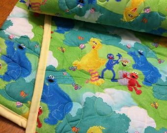 Seasame Street Quilted Throw Blanket Youth, Toddler, or Baby