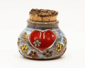 Heart with Flowers Stash Jar | Stash Jar | Herb Jar | Cork Jar | Pottery | Ceramic | Stoneware | Pottery Cork Jar | Ceramic Cork Jar