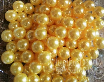12mm 30pc. Yellow Pearl Acrylic Beads