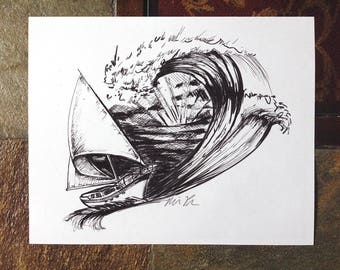 The Sail Boat, Pen and ink drawing, illustration, 8x10 print, archival, sail boat with ocean wave, black and white print