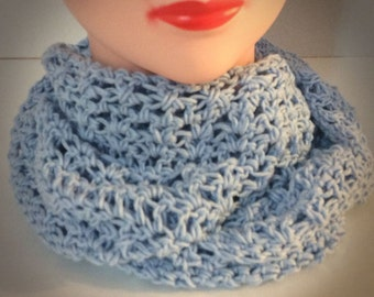 Blue Infinity scarf, Cotton Scarf, Crocheted scarf, Gift for Her, Women's Fashion, Women's Scarves, Scarf in eggshell blue, Gift for Mom