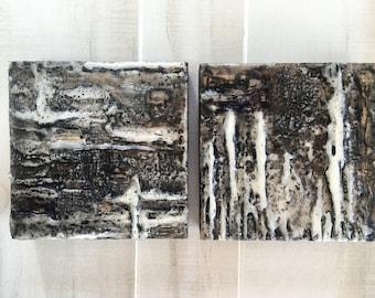 "Original Encaustic Painting ""Evolving #5"" 6x12"" abstract black white texture"