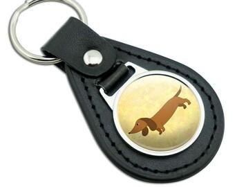Little Dachshund Black Leather Metal Keychain Key Ring