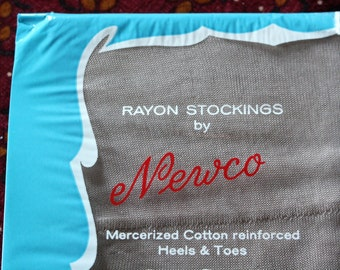 1930's Seamed Rayon Stockings, Unopened, Size 9.5