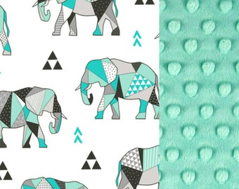 Personalized minky baby blanket, elephant baby blanket, boy baby blanket, stroller blanket, elephant nursery decor, car seat blanket