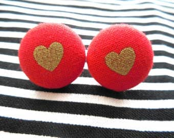 Hearts Button Earrings-Red Hearts Earrings-Heart Studs-Lightweight-Red Studs-Gold Studs-Studs-Valentine Earrings